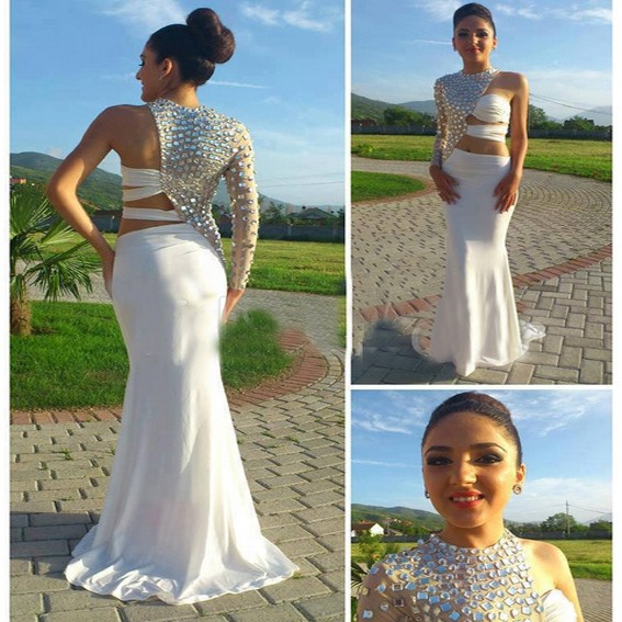 Hot Mermaid High Neck Floor Length Backless Chiffon White Prom Dress With Crystal