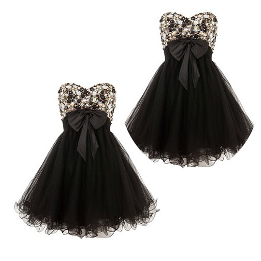 Sweetheart A-Line Empire Satin Short Black Prom Dress With Beading Sequins