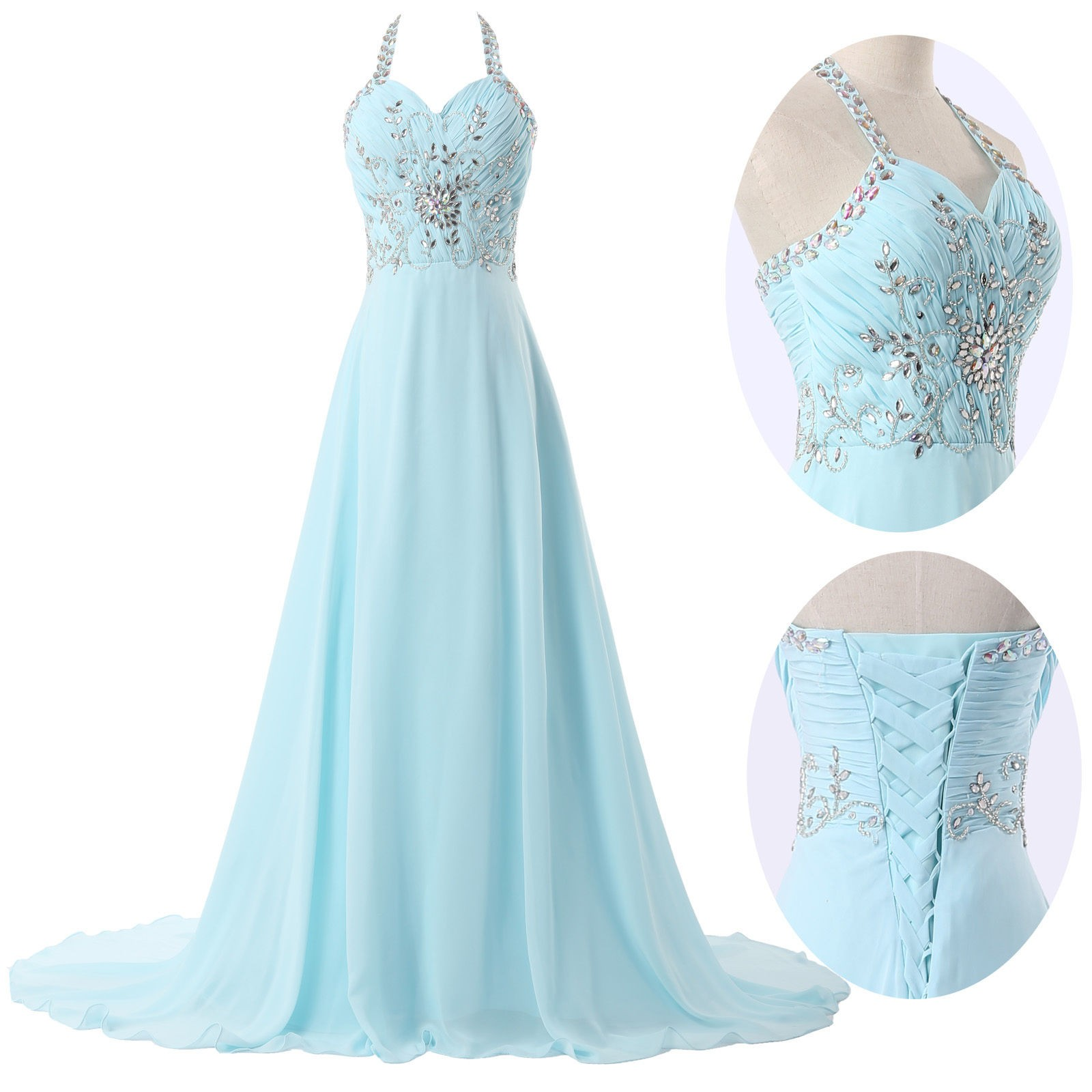Elegant A-Line Halter Sweep Train Chiffon Sky Blue Prom Dress With Beading