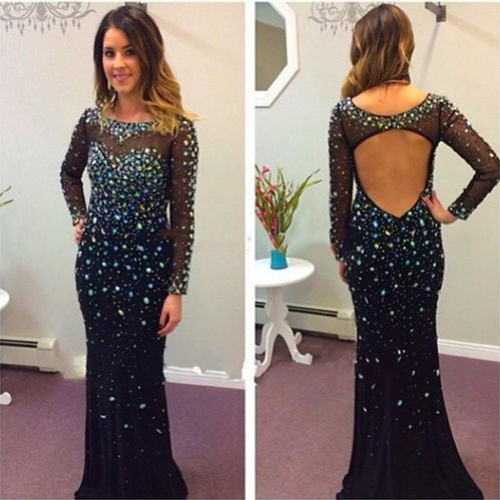 Sexy Scoop Long Sleeves Backless Dark Royal Blue Prom Dress with Beaded