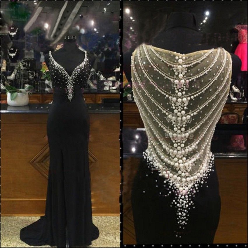 Gentle Straps Sweep Train Soft Chiffon Sheath Straps Black Prom Dress with Pearls