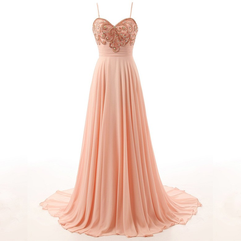 Hot-Selling Elegant Court Train Prom Dress - Pear Pink Spaghetti Straps with Beading