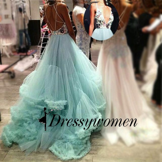 Long Tulle Prom Dress with Rhinestone - Mint Green Ball Gown Deep V-Neck