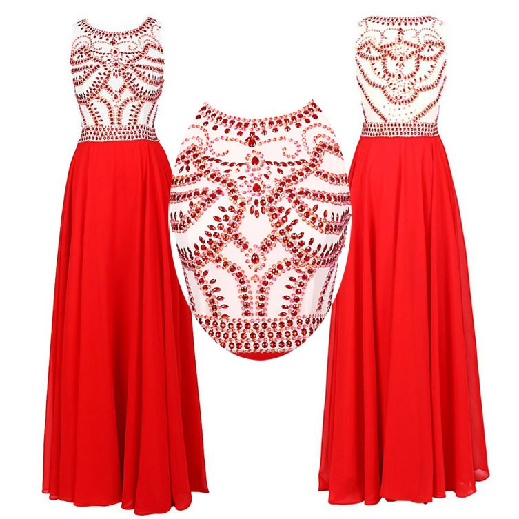 Gorgeous Prom/Evening Dress -Red A-Line Scoop Sleeveless with Beading