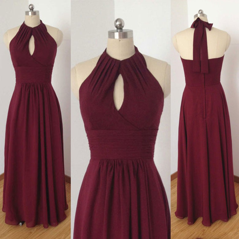 Dignified Prom Dress -Burgundy A-line Halter Sleeveless with Keyhole