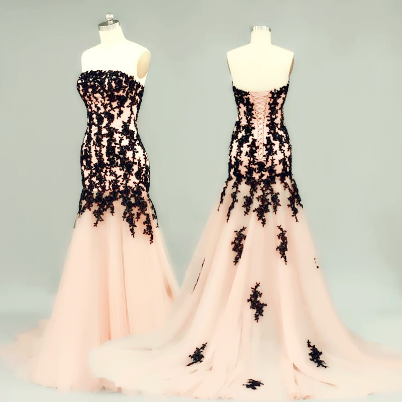 Elegant Prom Dress -Peach A-Line Strapless Sleeveless with Lace