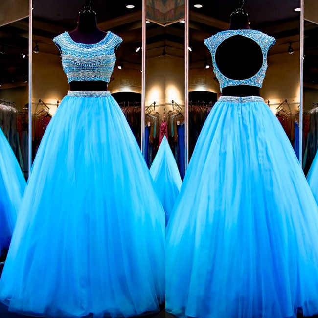 Casual Two Piece Prom Dress -Blue A-Line Scoop Sleeveles with Beading