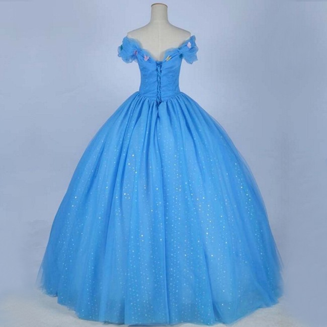 d00d0bd07e9 Cinderella Prom Quinceanera Dress - Blue Ball Gown Off the Shoulder with  Butterfly