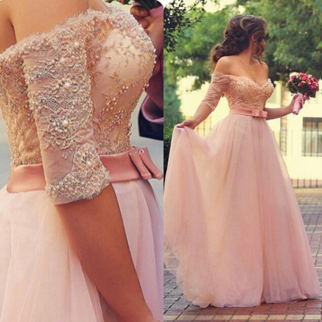 Gorgeous Prom Dress -Pink A-Line Off-the-Shoulder Half Sleeves Dress with Appliques Bowknot