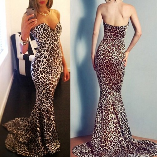 Sexy Long Prom Dress - Sweetheart Mermaid with Leopard