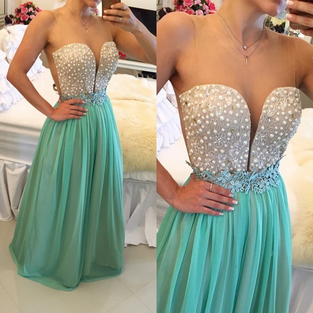 Hot Sell long Prom Dress - Mint Green Sheer Neck with Pearls