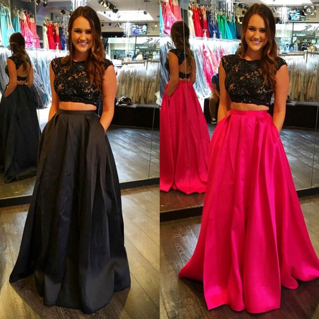 Two Piece Bateau Cap Sleeves Fuchsia/Black Prom Dress with Lace Open Back