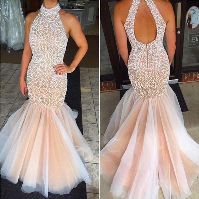 d1028e30fbb Gorgeous Prom Dress -Pearl Pink Mermaid Halter Sweep Train witn  Rhinestone