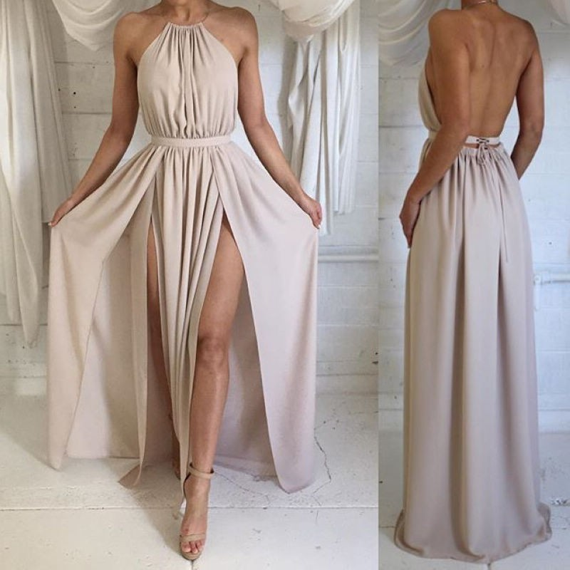 A-Line Halter Backless Champagne Chiffon Prom Dress with Both Sides Split