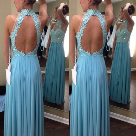 Elegant Floor Length Prom Dress - Sky Blue Open Back High Neck with Appliques