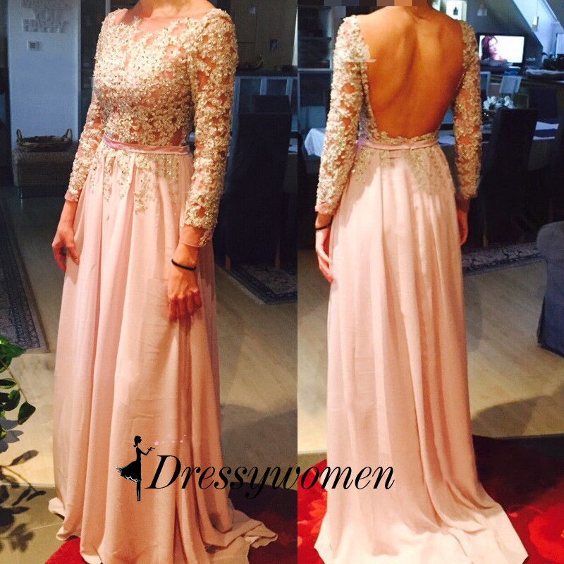 Hot Sell Long Prom Dress - Pear Pink Scoop Backless with Long Sleeve