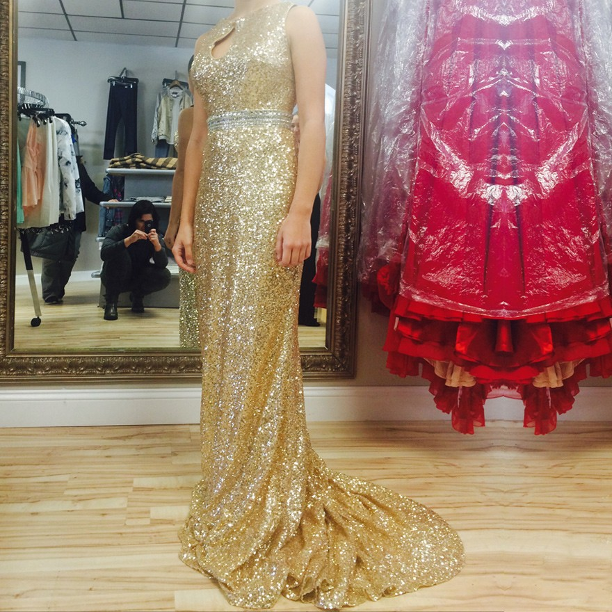 New Arrival Long Prom Dress - Gold Sequins Keyhole Back with Open Back