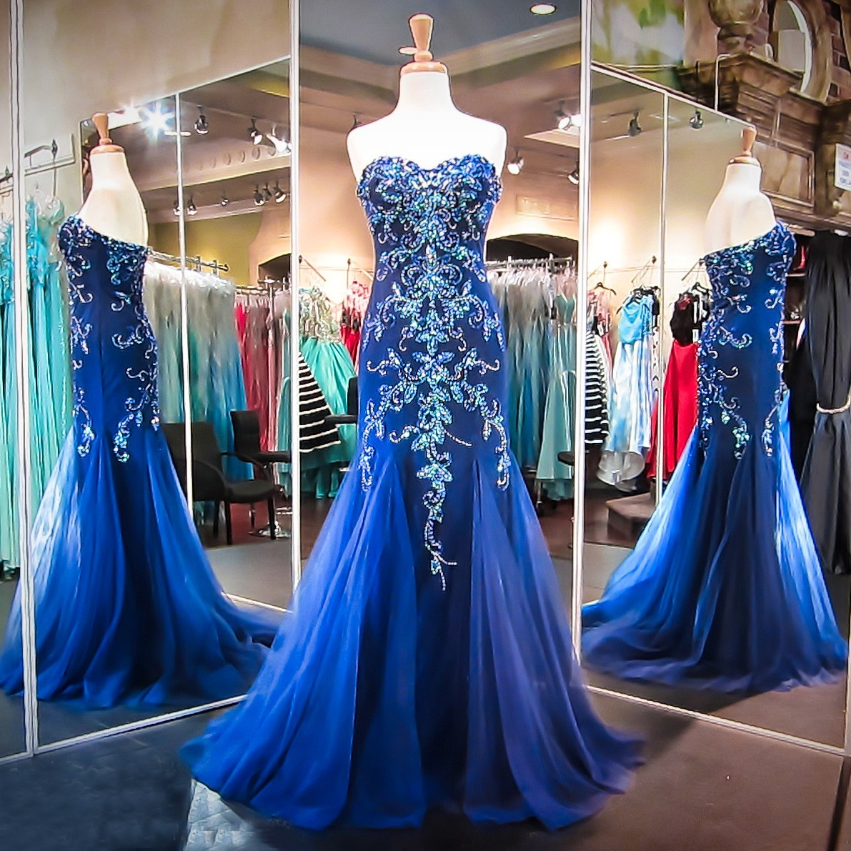 Luxurious Mermaid Long Prom Dress - Royal Blue Sweetheart with Beading
