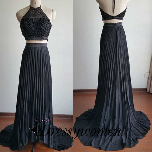 Sexy Two Piece Prom Dress - Black Halter with Beaded