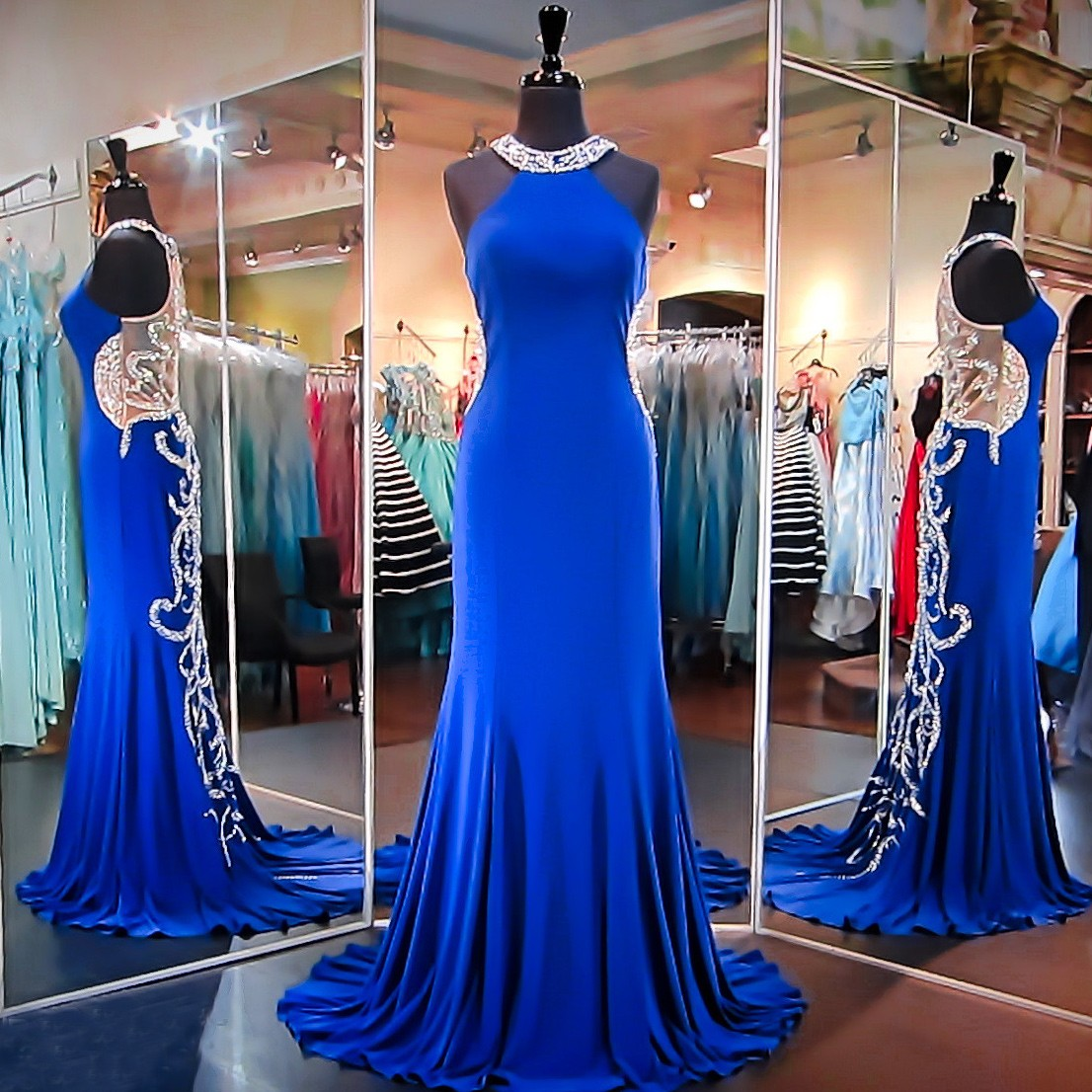 Luxurious Long Prom Dress - Royal Blue Sheath Halter with Beaded