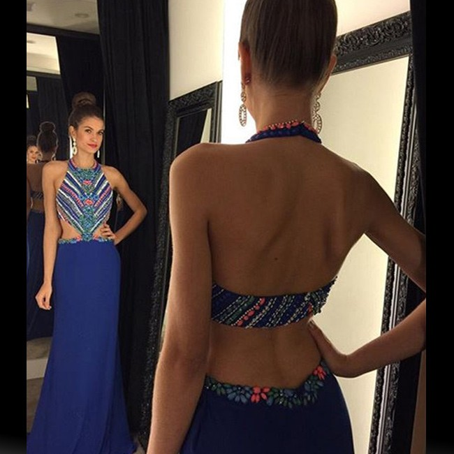 Sexy Long Prom Dress - Halter Neck Backless with Rhinestone