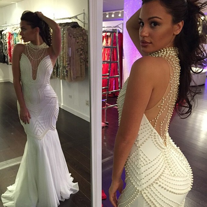 Glamorous Prom Dress -White Mermaid High Neck Sweep Train with Pearls