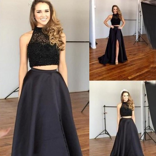 Sexy Two Piece Prom/Homecoming Dress - Black High Neck with Beaded