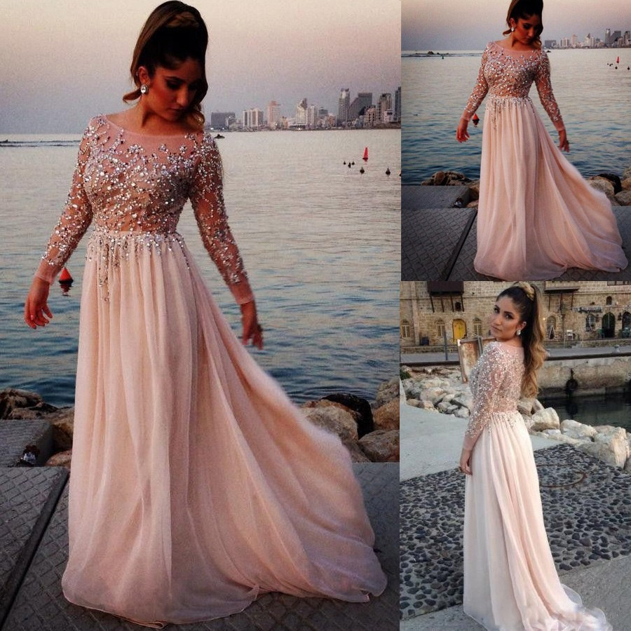 High Quality Prom/Evening Dress - Nude Pink Scoop Long Sleeves with Sequins