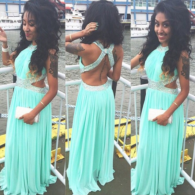 Sexy Long Prom Dress - Mint Green Halter with Beaded for Women
