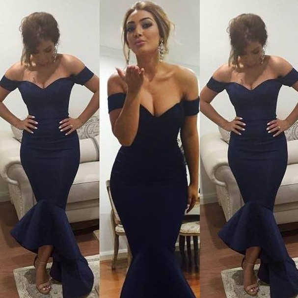 Sexy Mermaid Prom Dress - Navy Blue Off-the-Shoulder for Women