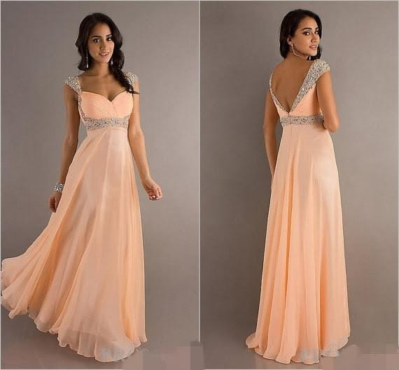 Elegant Floor Length Chiffon Straps Prom Dresses with Sequins