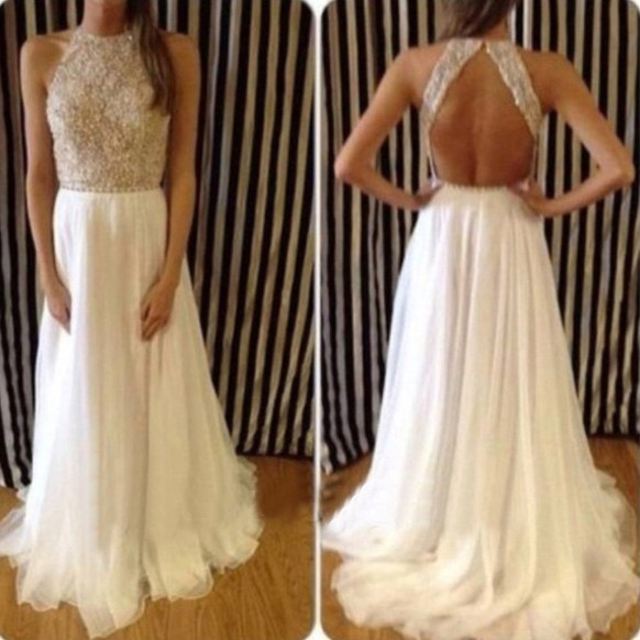 Sexy Long Prom Dress - White A-Line Backless with Beaded