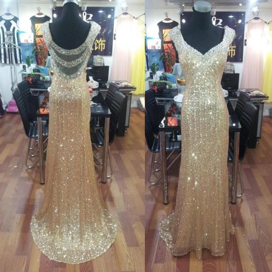 Glamour Long Prom Dress - Straps A-Line Sequins with Beaded