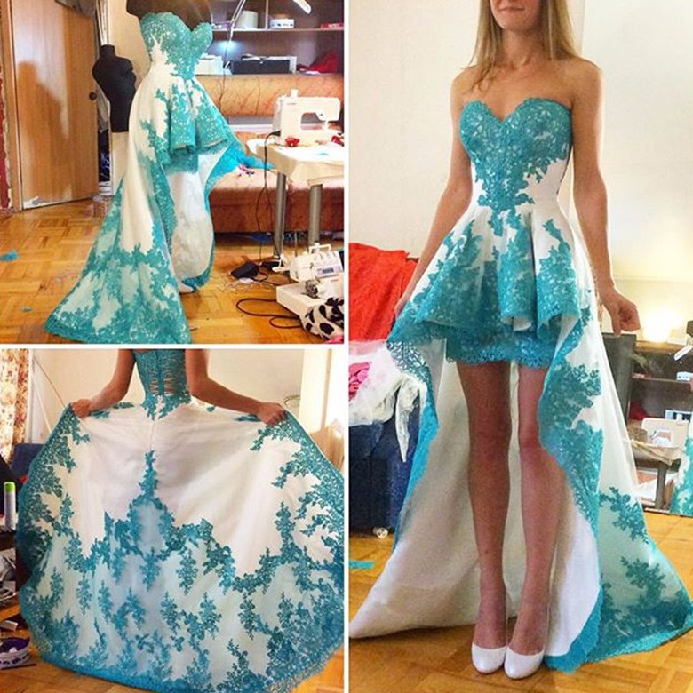 Elegant Prom Dress - Hi-Low Sweetheart with Appliques