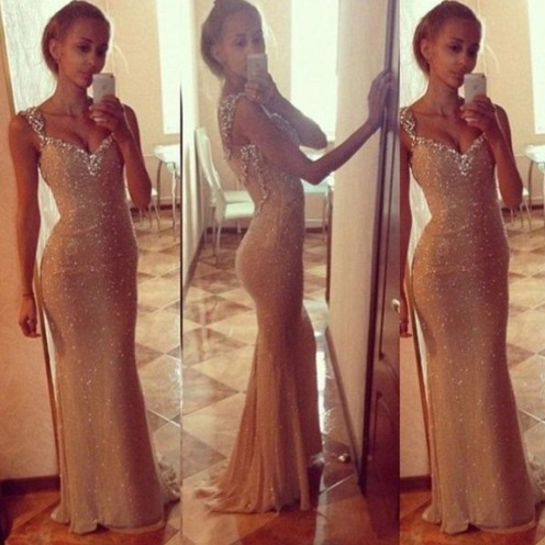 Charming Long Prom Dress - Sheath Straps with Beaded for Prom
