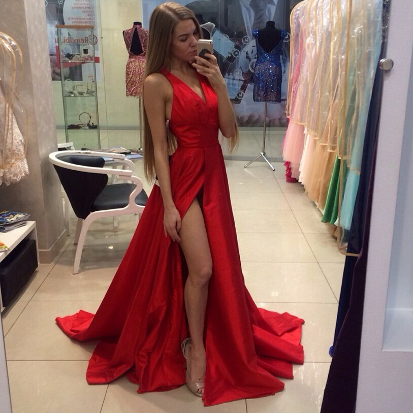 Generous Long Prom Dress - Red Deep V-Neck with Sexy Split