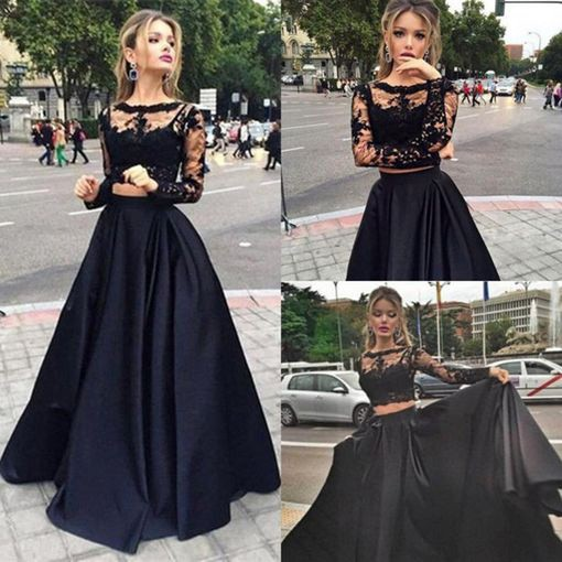 Sexy Two Piece Prom Party Dress - Black Lace for Women