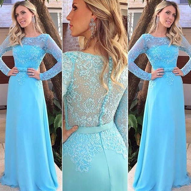 Elegant Long Prom Party Dress - Light Blue Sheath Scoop with Long Sleeves