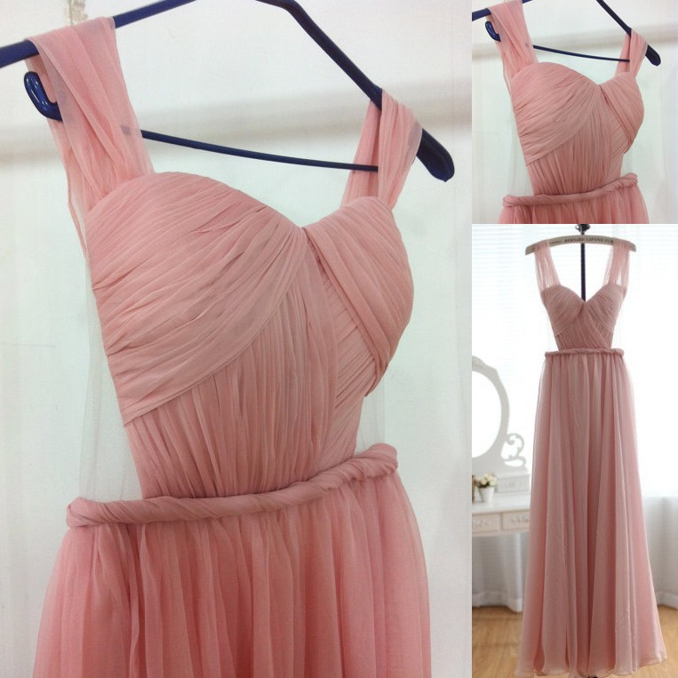 Elegant Straps A-line Backless Pink Long Prom Dress Evening Gown