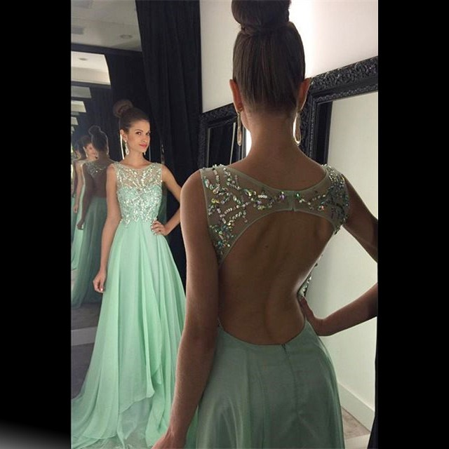 Modern Scoop Beading A-line Long Mint Prom Dress Backless