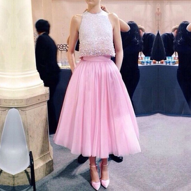 Modern Jewel Pearls Two-piece Tea-length Pink Prom Dress Evening Gown