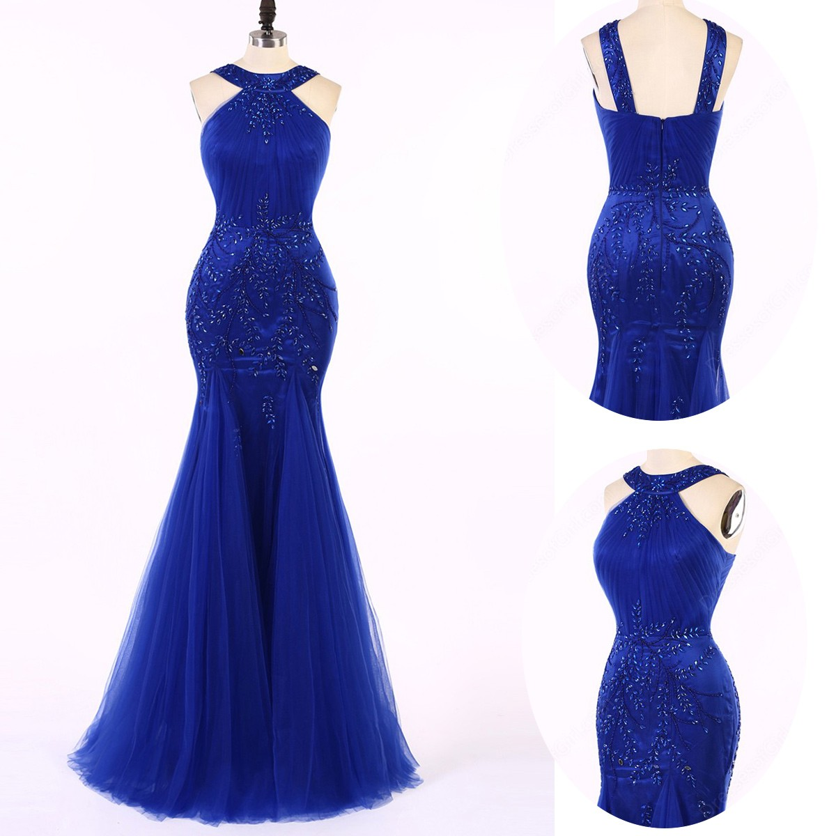 Elegant Straps Beading Royal Blue Mermaid Prom Dress Formal Evening Gown