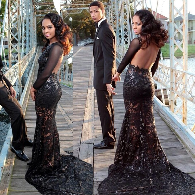 Sexy Backless Long Sleeves - Black Lace Prom Dress