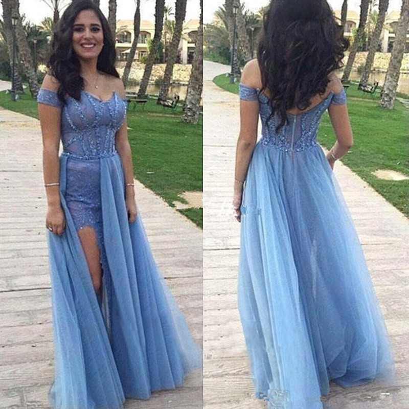 Elegant Off Shoulder Sky Blue Long Prom Dress with Beading