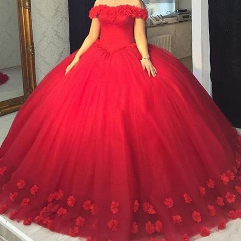 Modern Red Long Prom Dress - Ball Gown Off-the-Shoulder Sleeveless Appliques