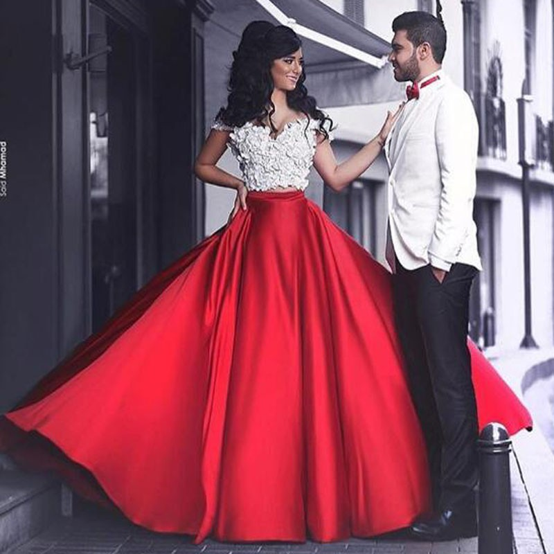Elegant Red A-Line Off-the-Shoulder Sleeveless Long Prom Dress with Flowers