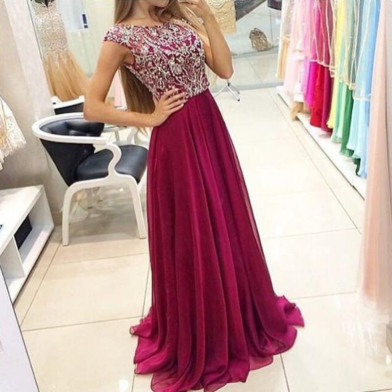Luxurious A-Line Scoop Cap Sleeves Grape Long Prom Dress with Beading