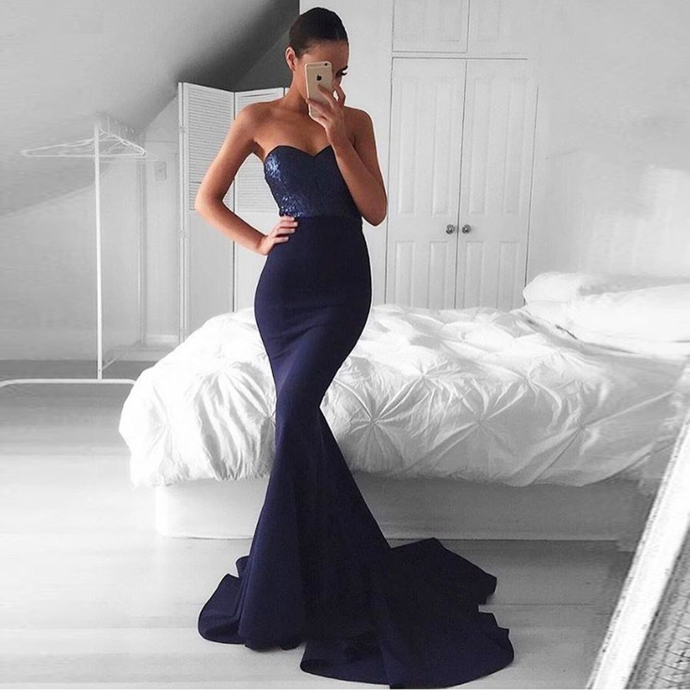 Elegant Mermaid Sweetheart Sleeveless Long Prom Dress with Sequins