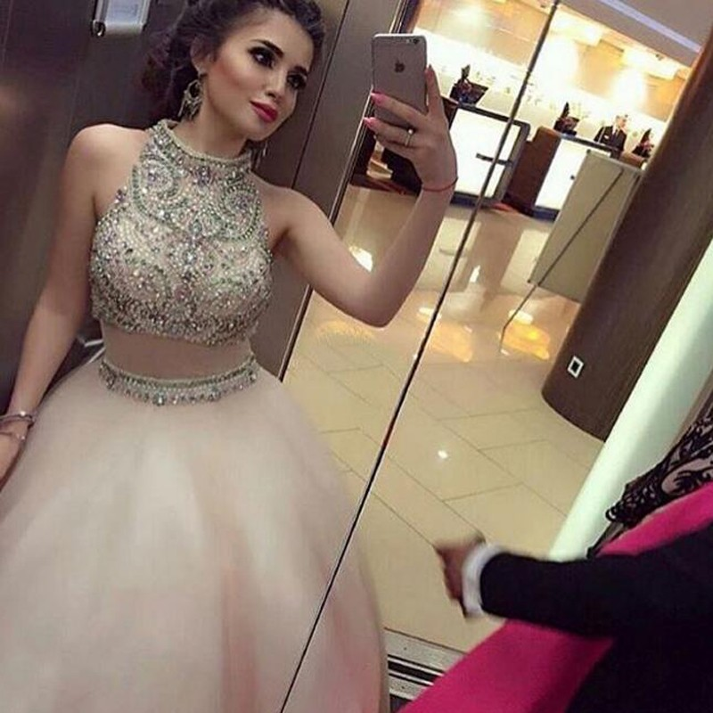 Luxurious Long Prom Dress - Two Piece A-Line High Neck Sleeveless Beading
