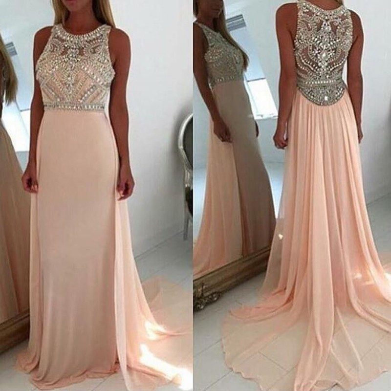 Chic A-Line Jewel Sleeveless Court Train Long Prom Dress with Beading